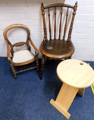 Two antique solid wood chairs + contemporary pine folding stool