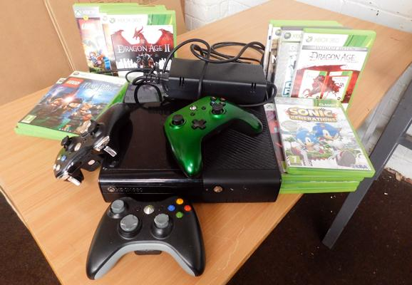 XBox 360 with large collection of games & controllers - W/O