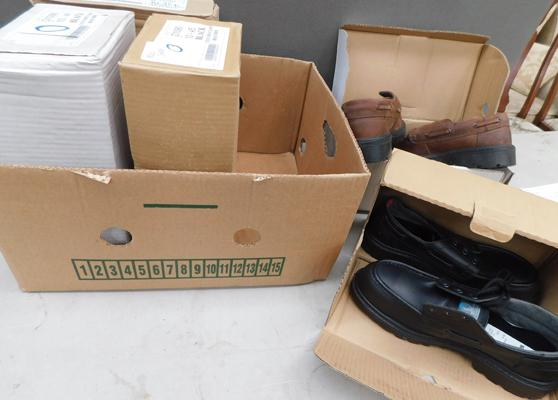 Box of various new mens shoes