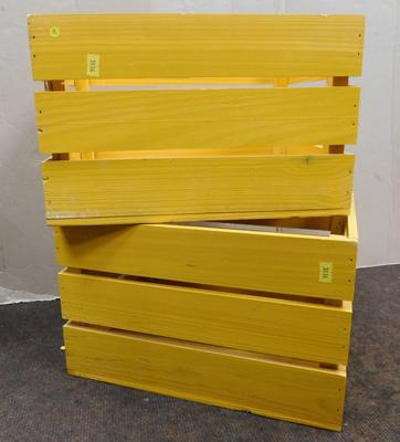 Pair of yellow wooden boxes