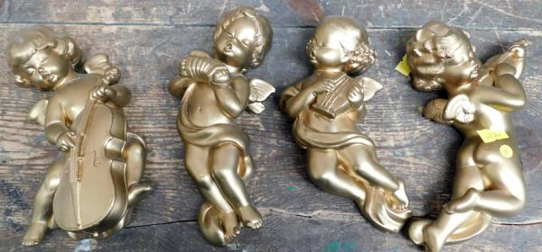 4x Ceramic gold painted wall hanging cherubs approx 6""