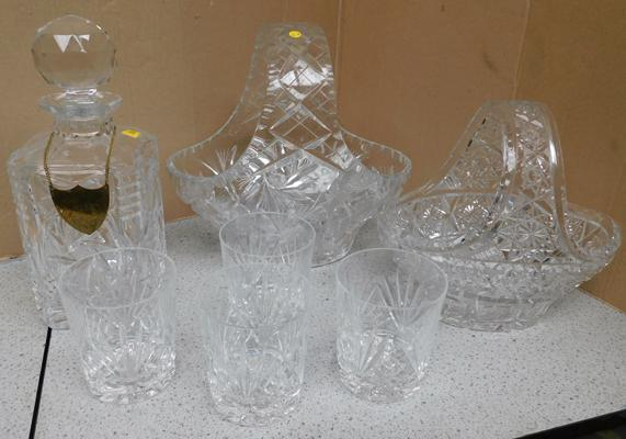 Pair of Bohemia crystal baskets and Bohemia decanter and 4x glasses