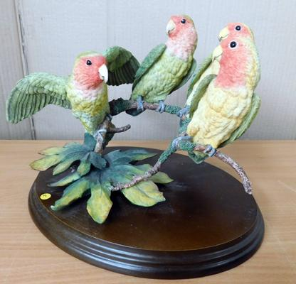 Group of parrots on treen base by artist David Ivey approx 12 inches