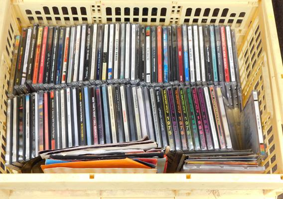 Box of CDs & 45 rpm records