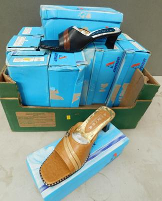 Box of 14 new ladies slip on shoes (some wear to boxes) seconds/sold as seen