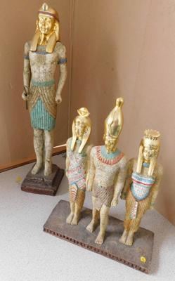 "Large Pharaoh figure and trio figures - some damage, 18"" tall"