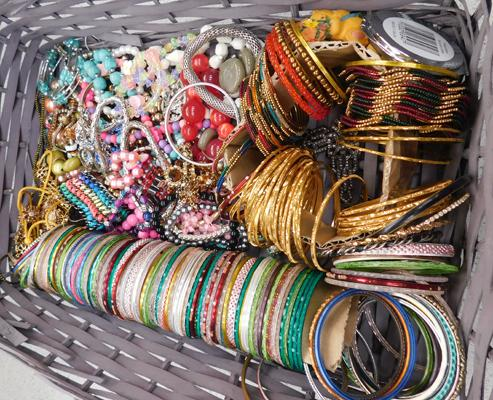 Wicker basket filled with bangles