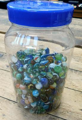 Tub of vintage glass marbles