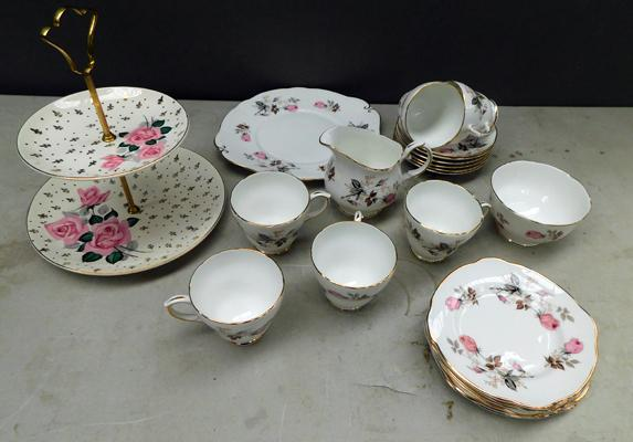 Duchess pink floral bone china + cake stand