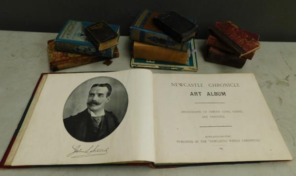 Selection of antique books etc