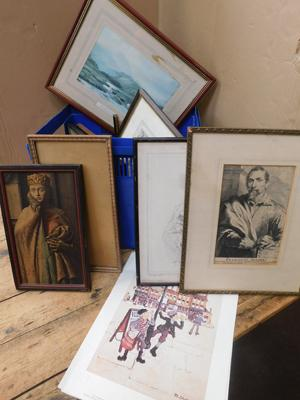 Box of mixed frames and prints