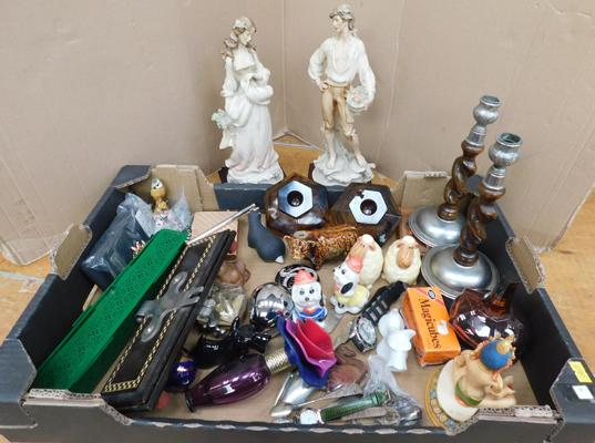 Large box of mixed items including figurines, candlesticks, silver etc.