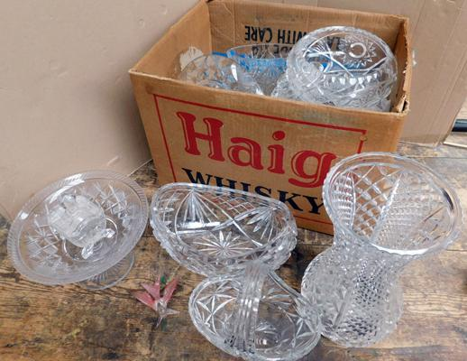 Large assortment of crystal, cut glass & Bohemia glass