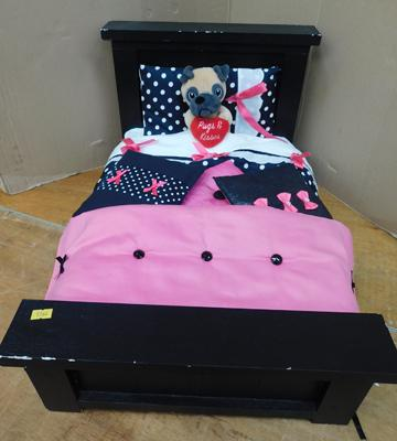 Wooden toy bed with accessories