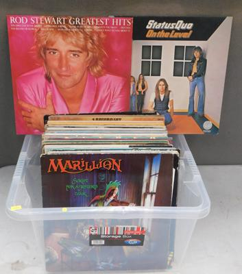 Box of LPs including Rod Stewart, Status Quo (approx 50)