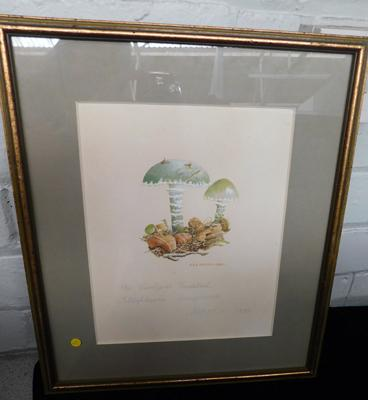 "Vintage watercolour of Verdigris toadstool, signed ASB Madden approx 14"" x 12"""