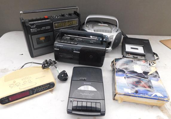 Selection of vintage cassette players etc