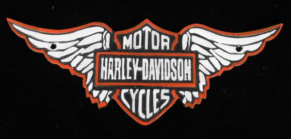 Cast iron Harley Davidson winged plaque approx 40cm wide