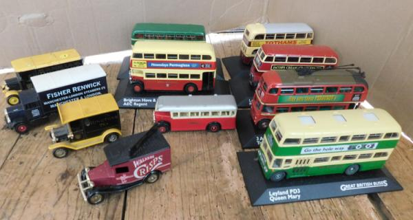 10 assorted vehicles - buses
