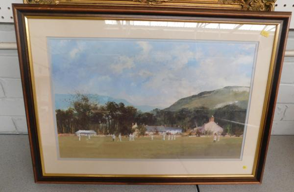 "Cricket print - framed, by Roy Perry - 28"" x 20"""