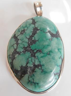 Large heavy silver cased gemstone pendant stamped 925 approx 2.5""