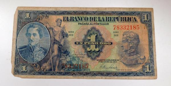 Columbia 1 peso banknote