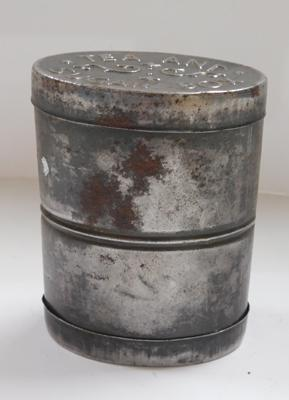 WWI tea & sugar box-opens both ends