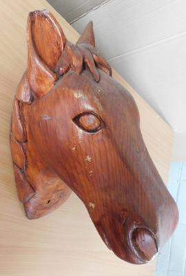 Large wooden horses head-slight damage to one ear approx 15x10""