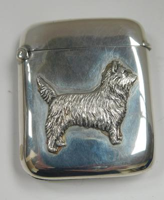 Silver vesta with embossed Scottish terrier on front, circa 1922