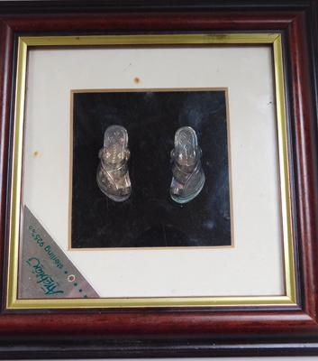 Sterling silver sandals in frame