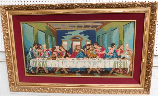 "Large framed tapestry The Last Supper by DR Muthersill artist  created 1968, approx 43x25""-slight damage to frame"