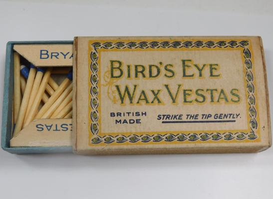 Edwardian Bryant May Birds Eye wax Vestas box with matches