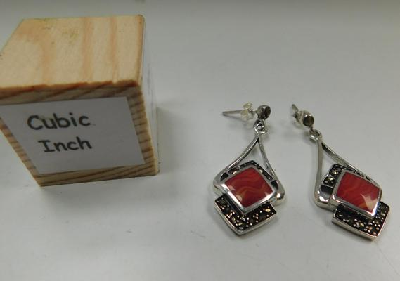 Pair of silver coral & marcasite earrings