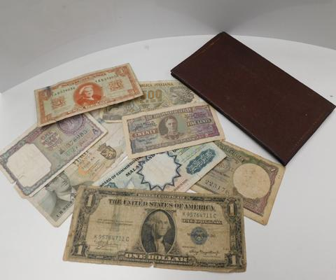 Series 1935A American USA 1 dollar banknote, Ceylon banknotes + others in wallet
