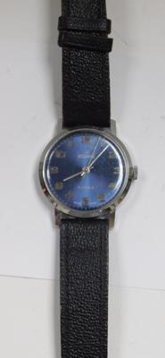 Vintage Josmar Swiss mens hand wind 17 jewel watch with blue face