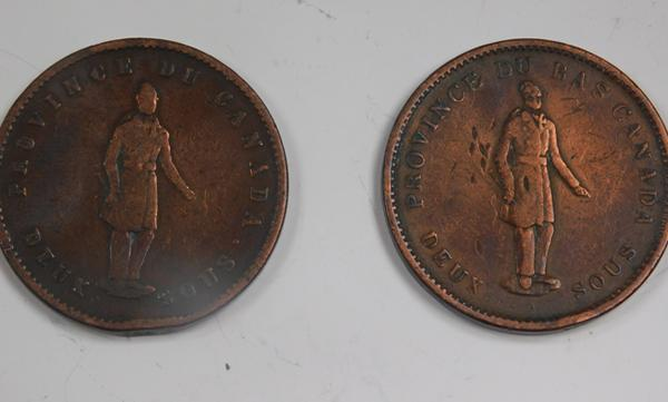 2 x Canadian penny tokens, 1837 & 1852