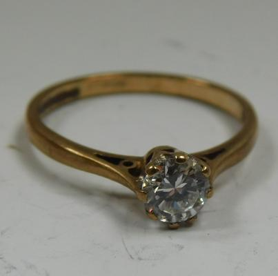 9ct gold solitaire ring, size M 1/2