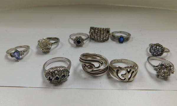 10x Sterling silver rings-some stones missing