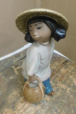 "Lladro girl with 2 baskets approx 7"" tall no damage"