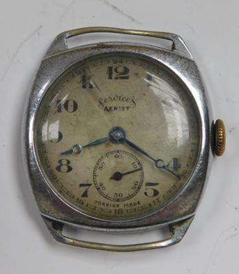 Antique services aerist white metal trench style watch