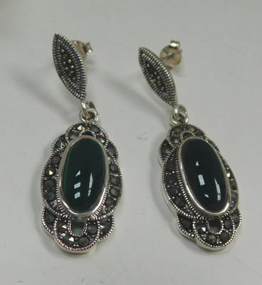 Pair of silver green stone & marcasite earrings