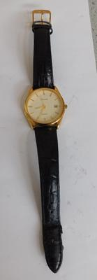 Accurist 15ct gold plated gents quartz watch SP1/4 detailed to back