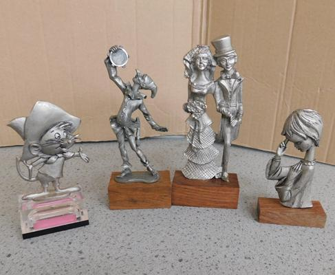 4x Peltro Italy pewter figures on bases, official labels to base