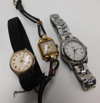Tissot PR50 no back with 2 antique yellow metal wind cocktail watches