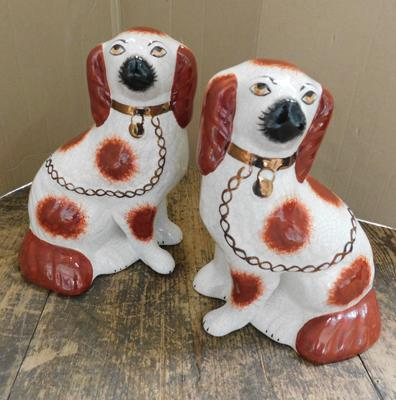 "Vintage Staffordshire ware fireside dogs-no damage found approx 9"" tall"