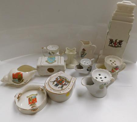 Selection of antique crested ware inc large the Glorious dead war memorial