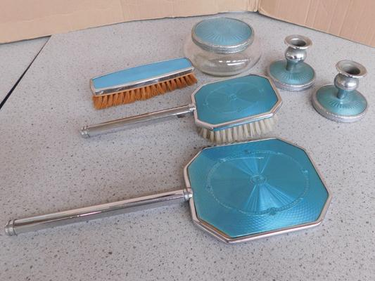 Art Deco guilloche 6 piece dressing table set