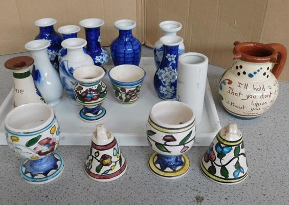 Collection of oriental vases + Torquay ware