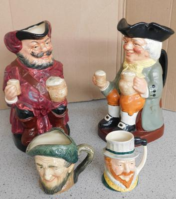 "4x Royal Doulton character jugs (2x large 8"" + 2 small 3"" approx)"