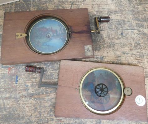 2 x Victorian magic lantern Chromatrope Judes (A/F)